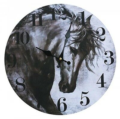 Clock Country Vintage Inspired Wall Clocks 34CM SKETCHED BLACK HORSE New Time