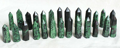 26 Pieces 2.2LB Natural Rare Green Ruby Zoisite Gem Stone Crystal Points Healing