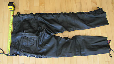Mens ECHTES lace up leather motorcycle pants/ Harley Davidson EU 52