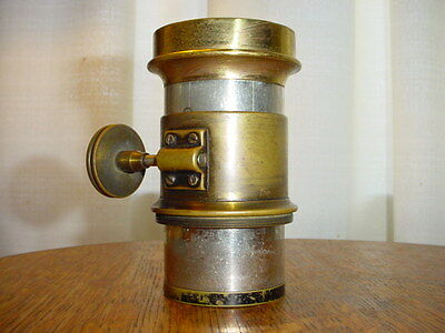 Antique Victorian Brass Loupe Magnifier Projection Lens