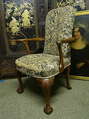 Beautiful Period Antique Tapestry Upholstered Queen Anne Revival Armchair