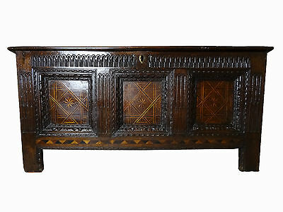 Large Exceptional Original Period Charles I Parquetry Inlaid Oak Coffer Chest