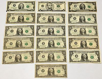 Collection of 16 USA American $ Dollar Banknotes U.S Currency $1 $2 $5 Lot