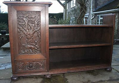 Antique Vintage Oak Bookcase - with cupboard & hand-carved  panel