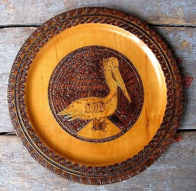 Vintage Carved Etched Wood Pelican Plate Home & Garden Decorative Nautical Decor