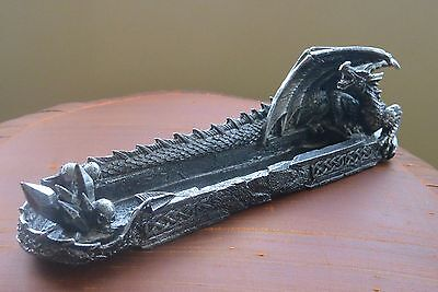 Dragon Incense Burner/Holder w/Celtic design details, pewter tone color,