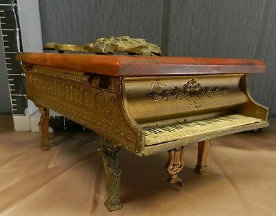 Antique French Victorian Grand Piano Music Box Brass & Bakelite Works VT0122