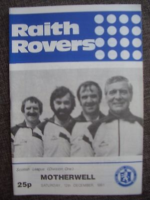 1981...RAITH ROVERS v MOTHERWELL....Scots League Div One.....Football Programme