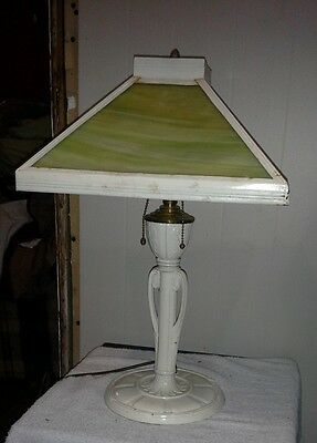 Signed Miller Art Deco Nouveau Arts & Crafts Green Slag Glass Figural Table Lamp
