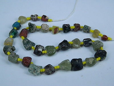 Ancient Fragment Glass Beads Strand Roman 200 BC #BE1279