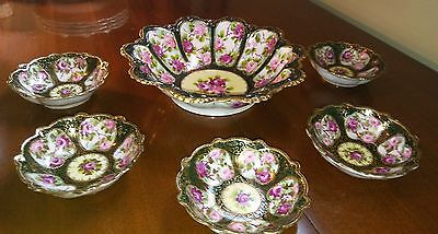 antique maple leaf Nippon 6 pc porcelain bowl set roses heavy gold moriage green