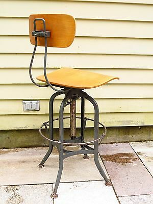 Antique TOLEDO Drafting Shop STOOL Wood laminate seat/backrest. industrial gray