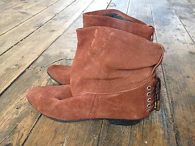 Vintage Brown Suede Ankle Pixie Boots Size UK 5 EUR 38 US 7 Retro 80s Slouch