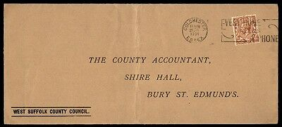 1934 Colchester Essex a phone slogan cancel on cover to St Edmunds