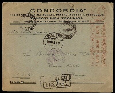 Romania metered registered cover Ploesti commercial to US 1939
