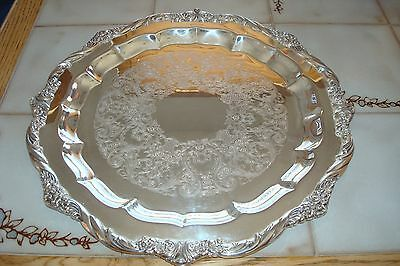 Vintage~1847~Rogers~Bros~IS~Heritage~Heavier~Silverplate~Round~Tray~#9473