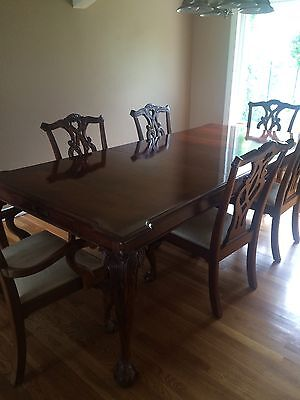Vintage Mahogany Dining Table Chippendale Ball Claw And 6 Chairs