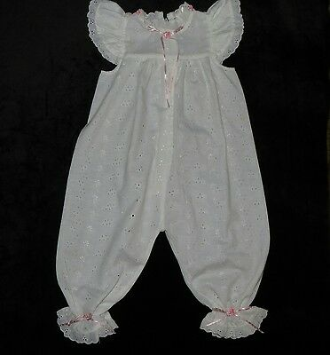 Precious Vintage Baby Girl's Eyelet Jumpsuit Longall Romper Flutter Sleeves 24M