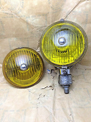 RARE VINTAGE Fog Lights Lamph Yellow Lucas Model NOS