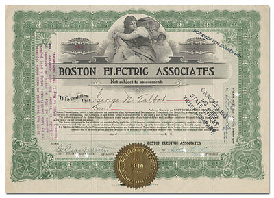 Boston Electric Associates Stock Certificate (Cape Cod, Islands)