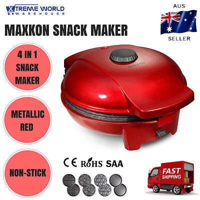 Maxkon Snack Maker with Four Detachable Plates Red