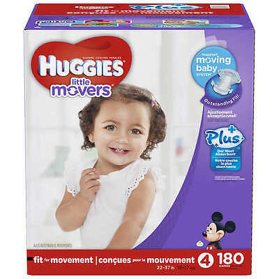 Huggies Little Movers Plus Diapers Size 4, 180-count - Free Shipping