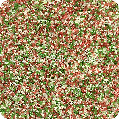 EDIBLE CHRISTMAS MIX SPARKLING GLITTER SUGAR CRYSTALS Cupcake Sprinkles 25g-500g