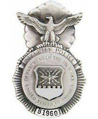 """U S Air Force Security Police MP Badge Pin with Serial Numbers 1-3/4"""""""