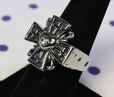 Medieval Style Cross STAINLESS STEEL Ring SIZE 10 Heart Cubic Zirconia Celtic
