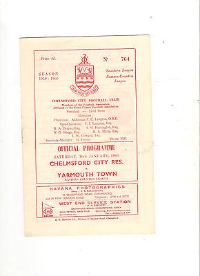 1959/60  Chelmsford City Reserves v Yarmouth Town