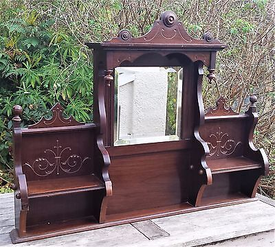 Victorian Antique Hall Mirror Shelf Stand Vtg Carved Mahogany Wood Display Unit
