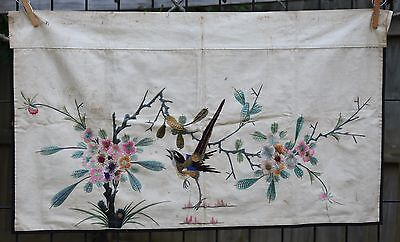 """Antique / Vintage Chinese Hand Embroidered Fabric Textile Panel 29"""" x 16"""""""