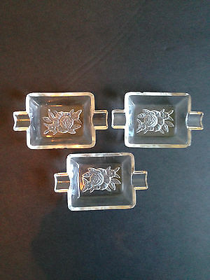 Vintage French Glass Etched Ashtrays Set of 3