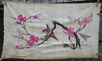 """Antique / Vintage Chinese Hand Embroidered Fabric Textile Panel 34"""" x 20"""""""