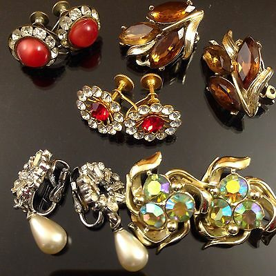 Antique & Vintage Glass Crystal Rhinestone Clip On Earrings Lot Of 5.