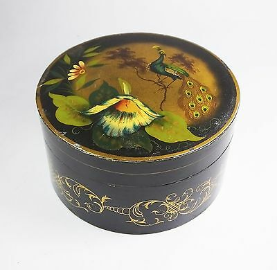 Antique Victorian toleware tole round box tin peacock handpainted caddy tobacco