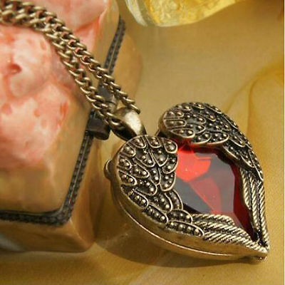 Vintage Angel Wings Heart Crystal Pendant Long Chain Necklace Jewelry New