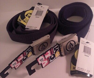 2 for 1 NEW W/ Tags Boys Volcom Belts, solid brown, solid black one sz fits all