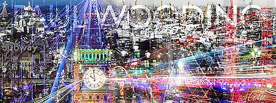 London Acrylic Print In Wooden Flow Up Frame 107cm X 40cm