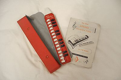 Vintage HOHNER Melodica Alto 25 Key Red Made In Germany with original case/book