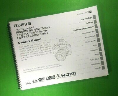 """LASER 8.5X11"""" Fujifilm S9700 S9800 S9900W FinePix Camera 143 Page Owners Manual"""
