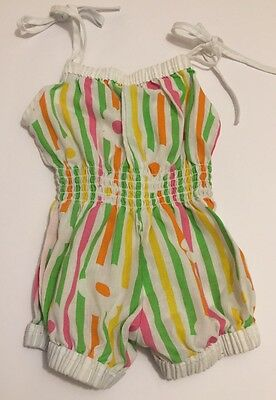Vtg Bright Pink Yellow Green Floral Daisy Shoulder Tie Toddler Sunsuit Romper