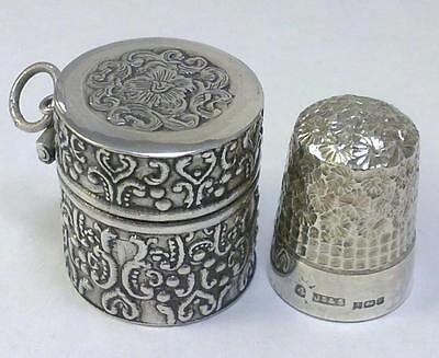 Vintage Sterling Silver Thimble Box / Case & hallmarked Silver Thimble – c1980