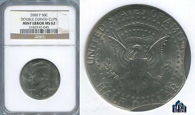 Ngc Ms-62 Kennedy 2000-P Doubled Curved Clips Mint Error! Rare This Nice! Lqqk!