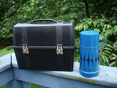 Vintage Aladdin Black Dome Top Plastic Work Lunch Box With Thermos