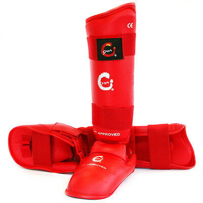 Smai Wkf Approved Karate Shin Guard Instep, Shin Protector With Instep