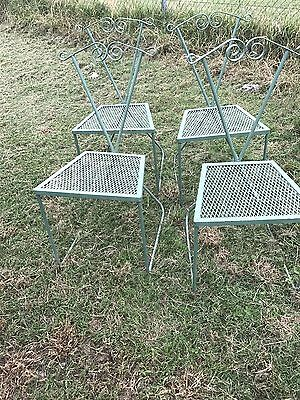 Vimtage 5 Pc Wrought Iron Mid Century Patio Dining Set Table 4 Chairs