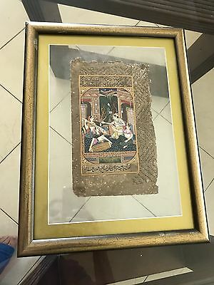 Antique Old Rare Mughal King Queen With Urdu Written Fine Art Painting