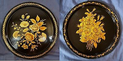 """2 Antique Vintage Tole Painted Toleware Tray s GOLD GILT Flowers Floral 12"""" NICE"""