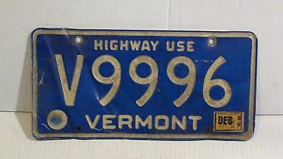 "1986 Vermont ""Highway Use"" License Plate (V9996)"